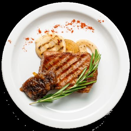 Стейк свинний із соусом агродольче